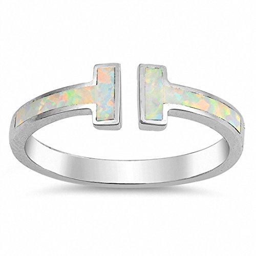 Fashion Bar Ring Created White Opal 925 Sterling Silver,Size-7 ()