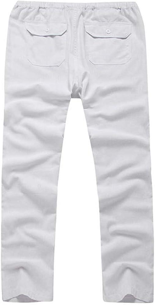 Mallimoda Homme Pantalon Lin Coton D/écontract/é Droit L/éger Baggy Pants avec Cordon de Serrage