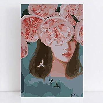 Rzyyd Pintura Por Números Corazón Que Florece Con Pinturas De Flores