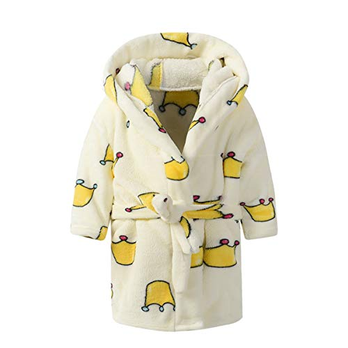 Toddlers/kids Hooded Terry Robe Fleece Bathrobe Children's Pajamas Sleepwear (2T, Crown)