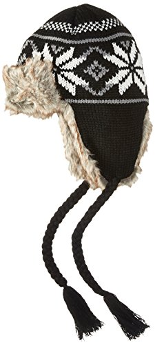 La Fiorentina Women's Knit Trapper Hat With Faux Fur and Tassels, Black Combo, One Size