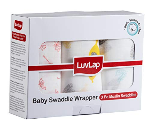 LuvLap 100% Cotton Muslin Baby Swaddles – Birds Print 0+ Month, White