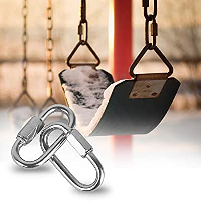 2 Packs Quick Link M12 12mm Stainless Steel Chain Connector by KINJOEK, Heavy Duty D Shape Locking Looks for Carabiner, Hammock, Camping and Outdoor Equipment, Max. Load 2497 Lb: Industrial & Scientific