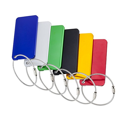 Tenn Well Pack of 6 Aluminum Luggage Tags, Travel Suitcase Tags with Stainless Steel Loop