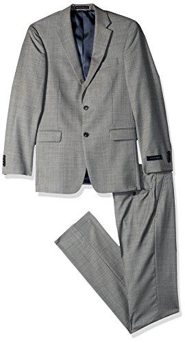 (Tommy Hilfiger Men's Modern Fit Performance Suit with Stretch, Black/White Sharkskin Pattern, 36 Short)