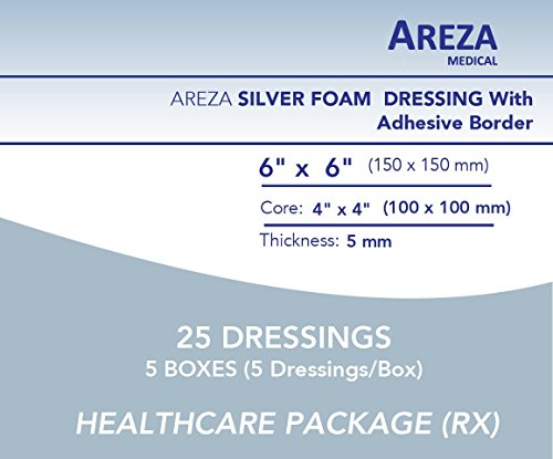 Silver Foam Dressing Sterile 6''x6'' With Adhesive Border Waterproof 25 Dressings (Healthcare Provider Package) by Areza Medical