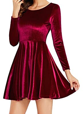 Angerella Slim Velvet Long Sleeve Shining Velvet Dress Swing Cocktail Party Dress