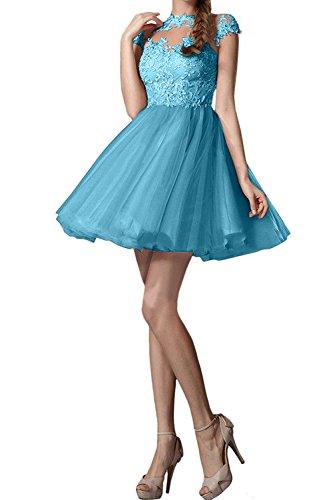 Pfirsisch Abendkleider mia Promkleider Neu Cocktailkleider Blau Kurzarm Ballkleider La Spitze Mini Tanzenkleider Braut YEwqpdS