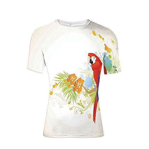 Tee Shirts Tops,Floral Ornaments and Wise Smart Parrot on Tree,Mens 3D ()