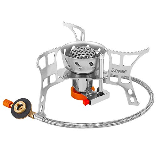 dxrise Camping Stove Ultralight Foldable Backpack Stove Burner Windproof Outdoor Portable Small Camping Gas Stove with Piezo Ignition Wind Shield and Carry Box for Outdoor Camping, Hiking, Fishing