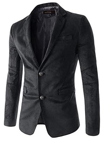 Papijam Men's Fashion 2 Button Faux Suede Slim Fit Blazer Jacket Suit Black S - Faux Suede Blazer