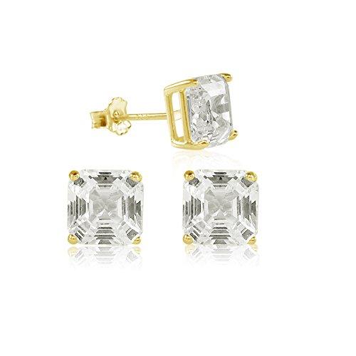 Asscher Cut 8x8mm White Cubic Zirconia Basket Setting 18K Gold Plated Stud Earrings