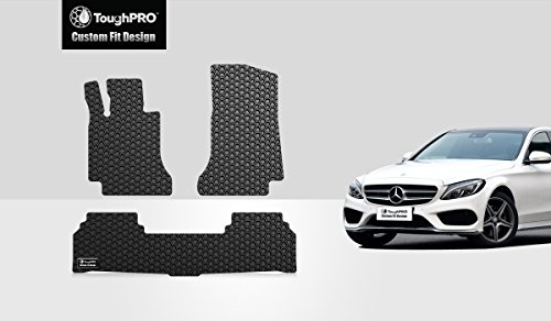 ToughPRO Mercedes-Benz C300 Floor Mats - All Weather - Heavy Duty -Black Rubber - Fit Sedan Model Only -(2015-2016-2017-2018-2019)