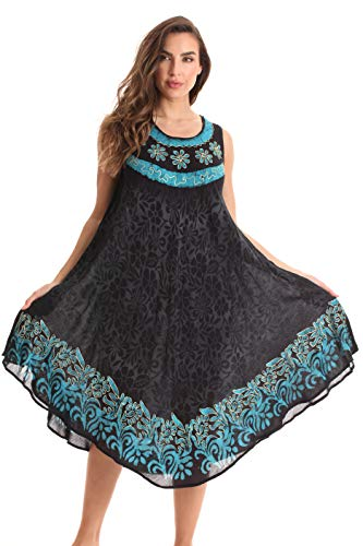 Riviera Sun Sleeveless Umbrella Dresses for Women 21970-TUR-1X Turquoise ()