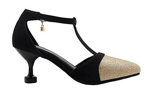 Amoonyfashion Donna Fibbia A Punta Gattino Tacco Assortito Colore Pompe-scarpe Oro