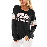 AlvaQ Women Casual Crewneck Colorblock Varsity Stripe Pullover Sweatshirt Tunic Tops