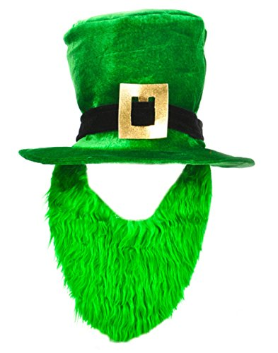 St. Patricks Day Costume Green Leprechaun Top Hat And Beard