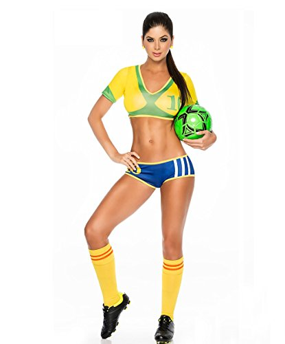 Cheerleading Uniform for Womens Sexy Football Short Sleeve Shirt Sets Stage Uniform cosplay party halloween (Brazil Yellow)