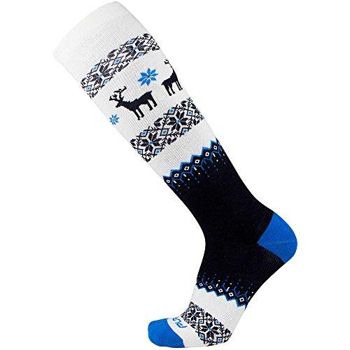 Warm Ski Socks – Winter Sweater Deer Sock for Skiing – Merino Wool Winter, Snowboard Socks for Men and Women – OTC Knee High (M, Charcoal Black-Cobalt Blue-White)