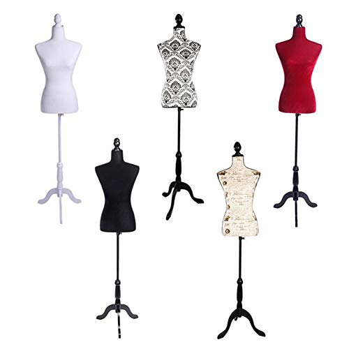 (Swanluck Female Dress Torso Body Form with Adjustable Tripod Stand for Clothing Dress Jewelry Display Photography)