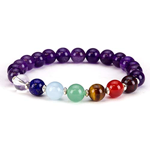 Cherry Tree Collection Chakra Stretch Bracelet | Genuine Natural 8mm Gemstones Beads, Silver Spacers | Men/Women (Amethyst - Medium)
