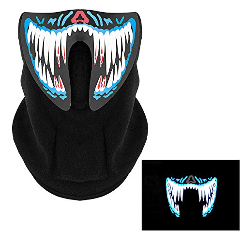 MEWTOGO Halloween Music LED Mask-Flashing Luminous Scary Cosplay Mask -