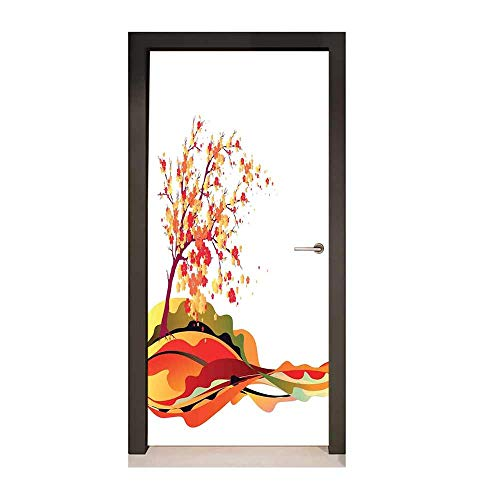 Abstract Home Decor 3D Door Wallpaper Autumn Tree Leaves Cherry Sakura Branch Holiday Travel Destinations for Home Decoration,W23.6xH78.7