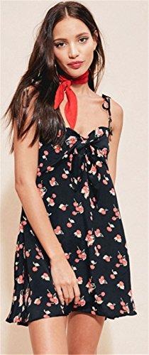 Moda Sin Mangas Tirantes Finos Slip Espalda al Aire Flor de Flores Tank Camiseta de Tirantes Camisola Minivestido Mini de Corte de Vuelo Trapecioe Maternidad Dress Vestido Negro