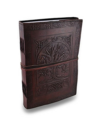 Handmade Vintage Tree of Life Antique Looking Genuine Leather Blank Book Bound Journal Diary Notebook Travel Book with Blank Unlined Pages to Write for Men Women Best Christmas Gift for Him Her