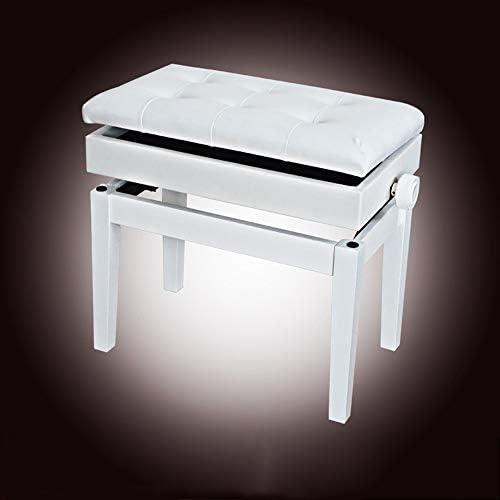 デラックスコンフォート 本棚1人なしで可変チェアソリッドウッド肥厚ピアノベンチ古筝エレクトリックピアノの練習スツール パッド入りピアノベンチスツール (色 : 白, サイズ : 56x35x56cm)