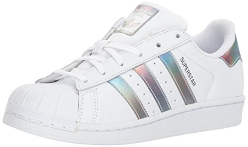 adidas Kids' Superstar J Sneaker, White/White/Gold Metallic, 4.5 M US Big Kid by adidas (Image #9)