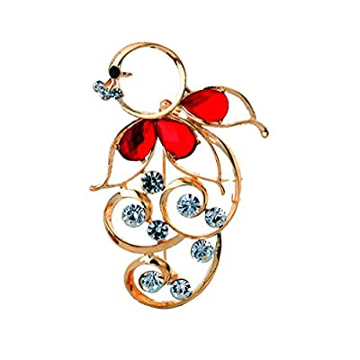 Discount YAZILIND Faux Diamond Bright Red Crystal Flower Rhinestone Pin Brooch supplier
