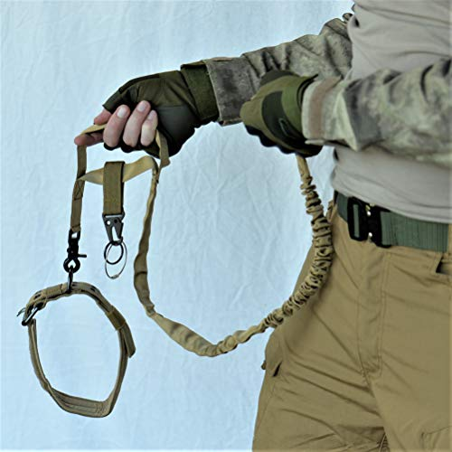 Tactical Dog Leash [Tan] (1) [Quick Release] + Adjustable Collar (1) + All Purpose MOLLE Hook Clip (1) for SWAT/Military / K9 Unit