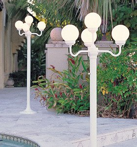 Lighting Four Globe Luminaire Light Stand Designed For Outdoor Parties And Events