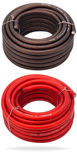 InstallGear 4 Gauge 25ft Black and 25ft Red Power/Ground Wire True Spec and Soft Touch Cable