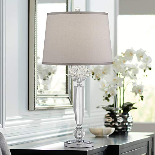 (Olivia Crystal Table Lamp with Gray Shade - Vienna Full Spectrum)