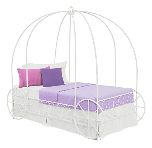 (DHP Metal Carriage Bed, Fairy Tale Bed Frame, Shabby-Chic Style, Twin, White)