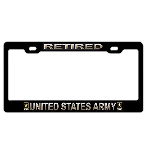 U.S. Army Retired Black Aluminum Metal License Plate Frame, US Army Car Tag Frame, Military Proud License Plate Cover Holder for US Standard, 2 Holes and Screws - License Plate Retired Army