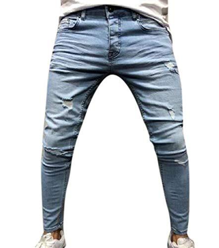 Blau Con Estilo Especial Jeans E Fit Slim Skinny Strappati Elasticizzati Denim Stampa Floreale Uomo Pantaloni Da Zip wqqBTY1xa