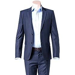 Hugo Boss Extra Slim Fit 2 Piece Men's Suit 100% Virgin Wool Astian/Hets 50321255/423 Blue Check by Hugo (46 Regular USA Jacket/40 Waist Pants)