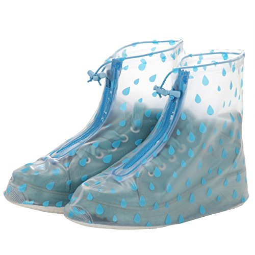 Slip Blue Raindrops Women Cover Polka Dot by Waterproof XL resistant Reusable Gardeningwill Girls Guard Shoes wwXqOS6F