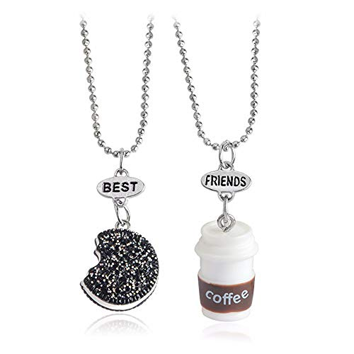 2 Pcs/Set Cute 3D Miniature Cookies Biscuit Milk Coffee Pendant Necklace Creative Best Friend Resin Jewelry Friendship Gifts (Coffee)