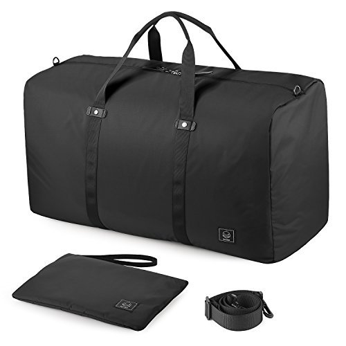GAGAKU 80L Foldable Travel Duffel Bag Packable Lightweight Duffle Large Flight Cabin Bags for Travel - Black