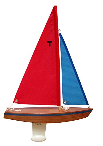 Cruiser Rc Boat (T12 Cruiser Sailboat Finished (Red/blue)- Floating Model Sailboat, Toy Sailboats that Sail, Toy Sailboats that Float, Toy Sailboat Wood, Toy Sailboat Wooden - It Really)