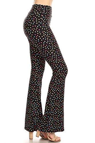 Leggings Depot PZA-S565-L Dipped Dots Palazzo Print Pants, Large