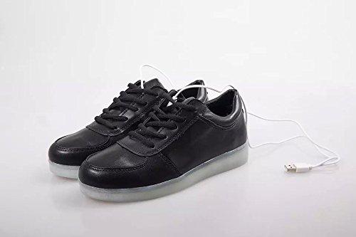 blanc Noir Couleur Chaussures Rechargeable Clignotante Led Lumineuse Sport De Basket Femme En Noir Cuir homme Cooler 7Zwgqp5