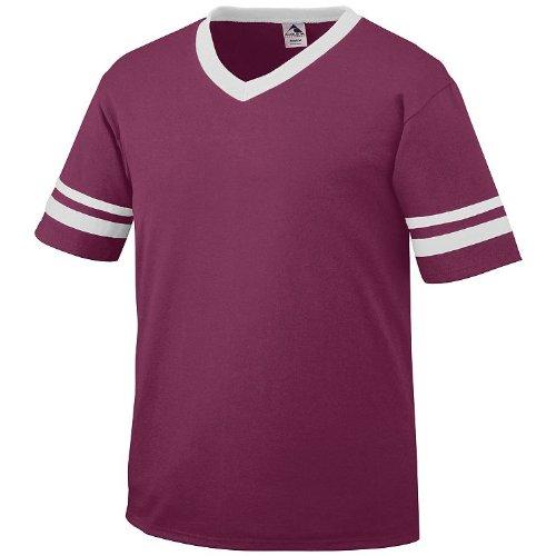 Adult Large Maroon Shirt/White Striped Sleeves 50/50 - Augusta Shirt Sportswear Womens