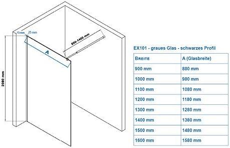 nano protection Largeur Walk-In:1100mm Paroi de douche /à litalienne 8mm verre gris et satin/é partiel largeur s/électionnable EX101 noir