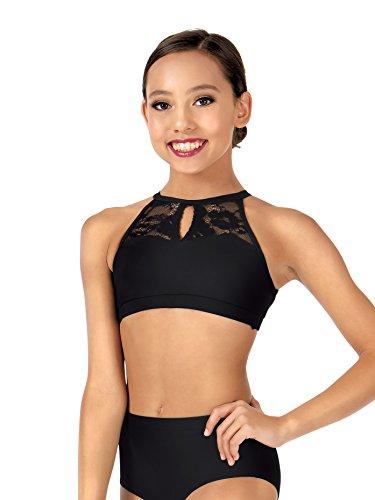 Dance Top Crop (Body Wrappers Child Keyhole Halter Lace Dance Crop Top,LC1024BLKL,Black,Large)