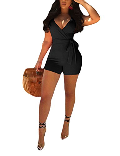 Akmipoem Shorts Romper Clubwear for Women Sexy Sleeveless Strappy V Neck Solid Jumpsuit with Belt Black M